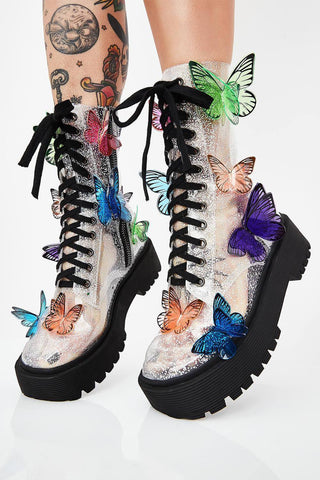 Clear Glitter Chunky Lace Up Boots With 3D Butterfly