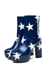Navy Star Platform Ankle Boots