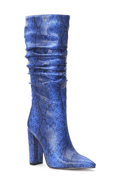 Blue Snakeskin Ruched Knee High Boots