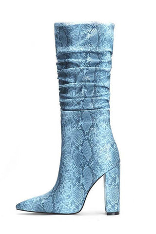Light Blue Snakeskin Ruched Knee High Boots