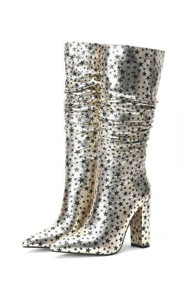 Metallic Gold Glitter Star Ruched Kee High Boots