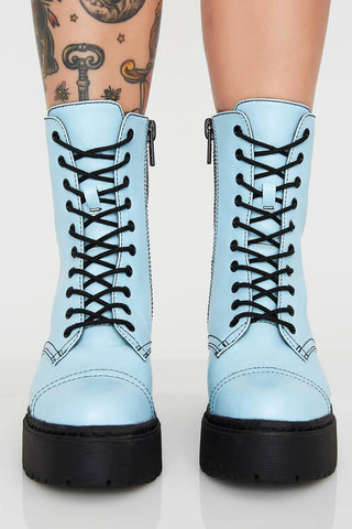 Neon Light Blue Patent Lace Up Platform Chunky Ankle Boots