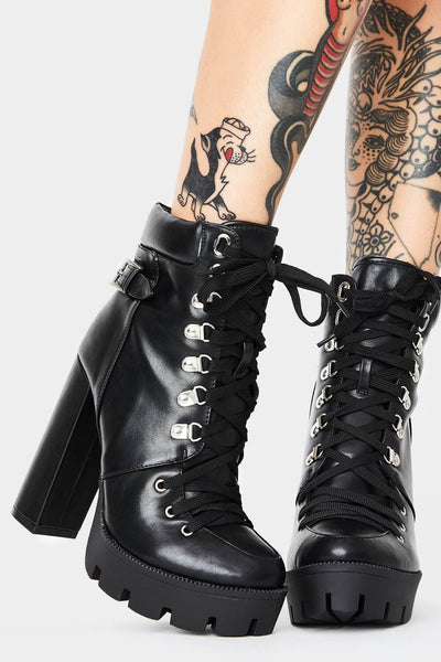 Black Lace-Up Heeled Chunky Biker Ankle Boots With Buckle Detail