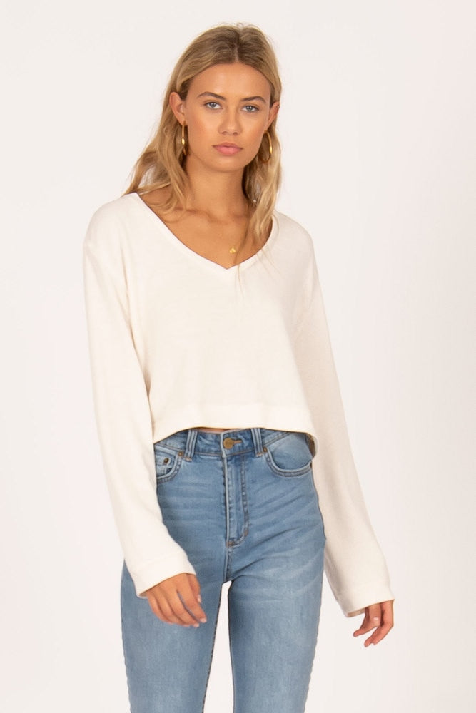 Amuse Society Coconut Grove Cropped Knit - Vintage White