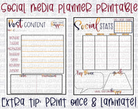 Social Media Manager set of planner printables PDF