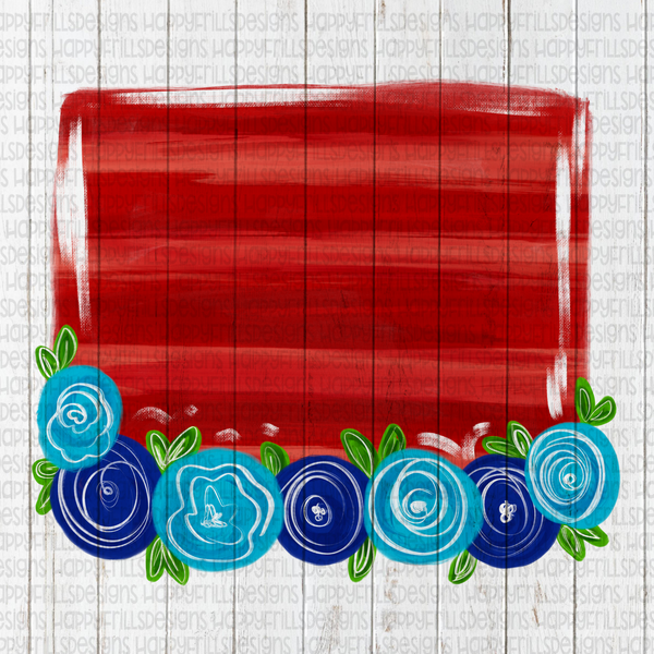 Floral red, white, and blue background element for designs