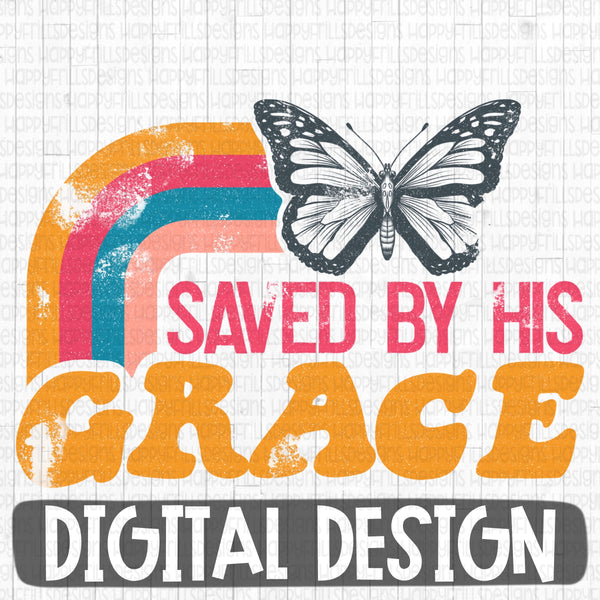 Saved By His Grace retro digital design