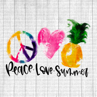 Watercolor Peace love Summer pineapple