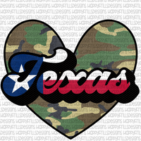 Texas flag & Camo Heart
