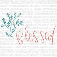 Simple line Blessed hand lettered