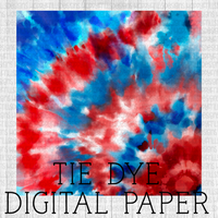 Red white and blue patriotic Tie-dye Digital Paper