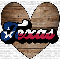 Texas flag and wood heart