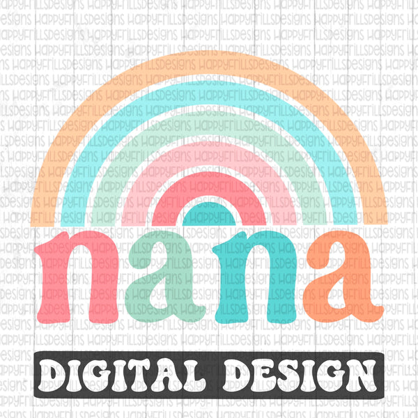 Nana Rainbow retro style digital design