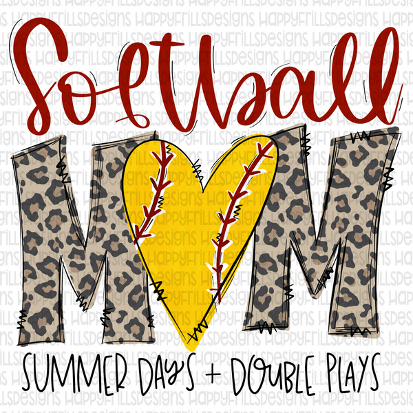 Softball mom with leopard print