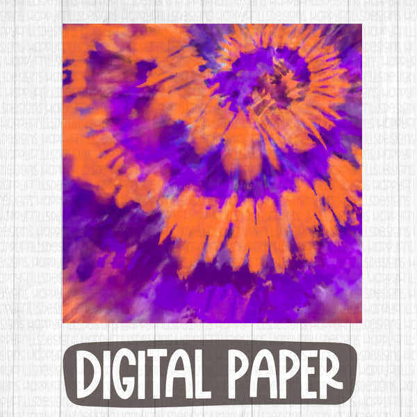 Orange/purple Halloween tie dye digital paper