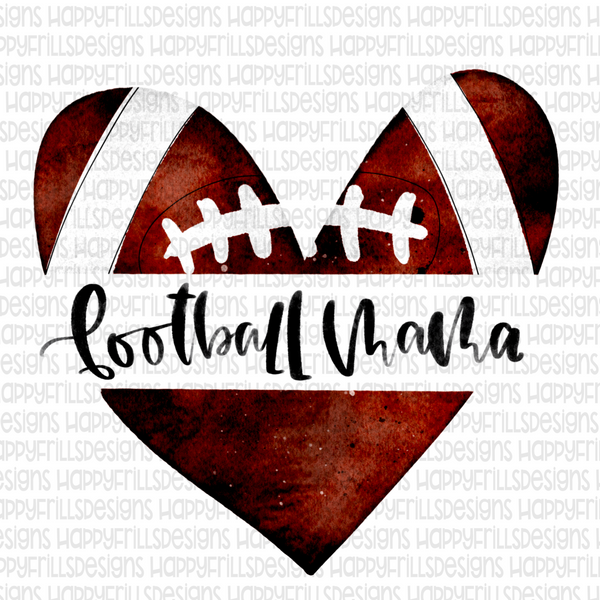 Watercolor heart football mama