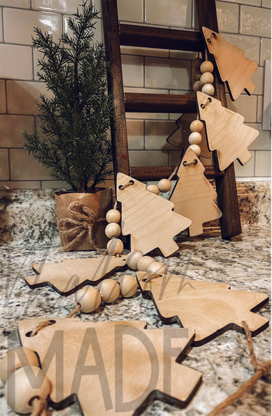 DIY Farmhouse Wood Tree Garland set (unfinished)