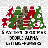 5 pattern set Doodle Christmas Alpha set (including numbers)