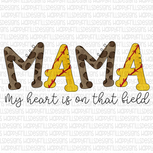 Doodle Softball Mama my heart is on that field