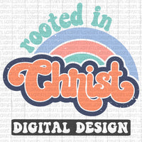 Rooted in Christ retro style digital design