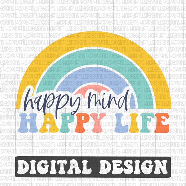 Happy Mind happy life retro style digital design