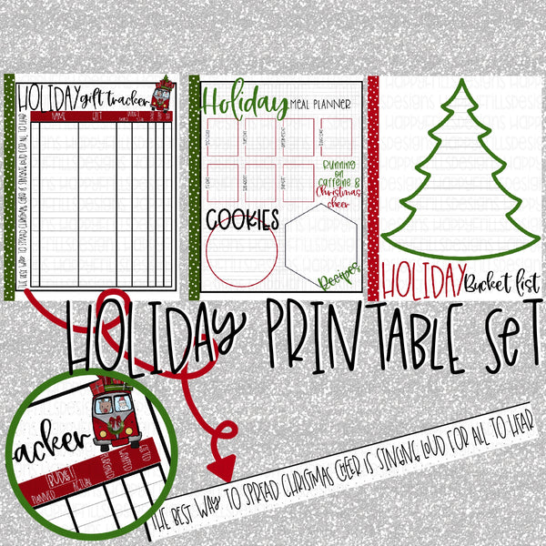 Holiday/Christmas gift tracker, bucket list, meal planner planner printables PDF
