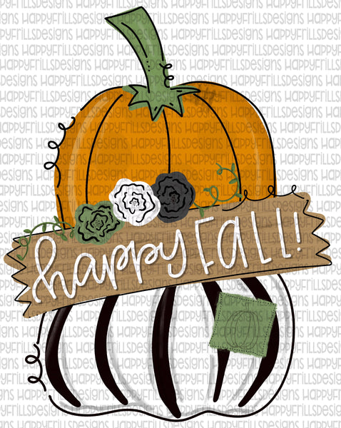 Happy Fall with wooden sign