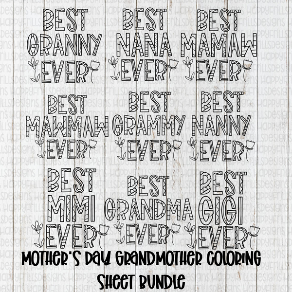 Mother's Day Coloring page bundle