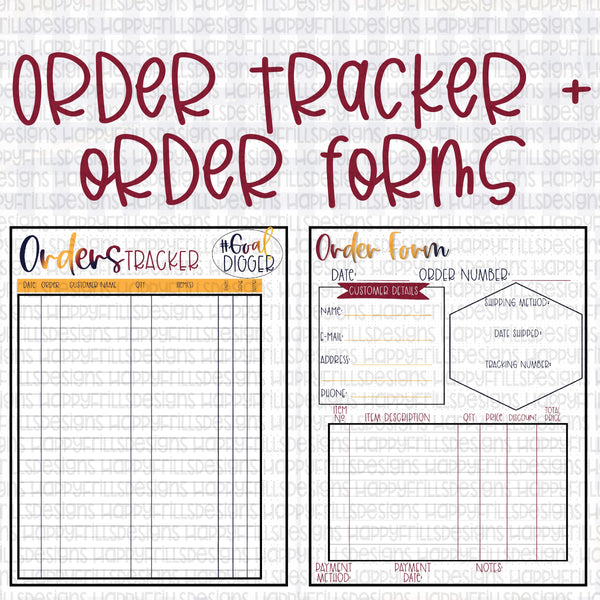 Order forms + tracker, Order Manager set of planner printables PDF