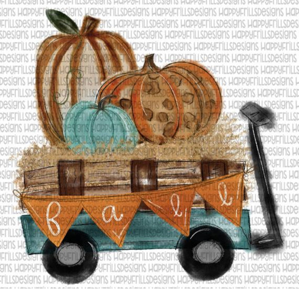 Fall pumpkin wagon