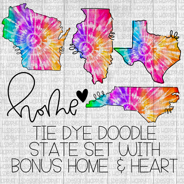Doodle tie dye state set with bonus home