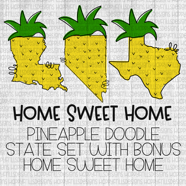 Doodle pineapple state set with bonus home sweet home