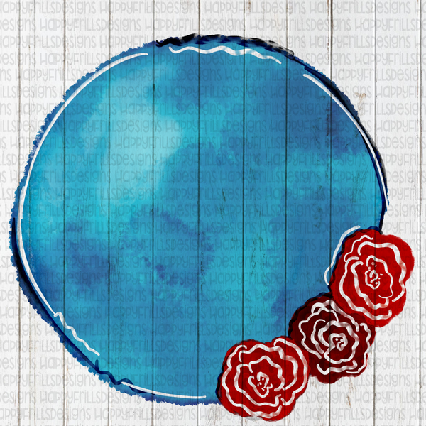 Circle floral blue background element for designs