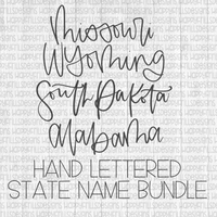 Hand letter state name bundle