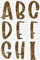 Watercolor Leopard Doodle set (26 individual PNG, One of each letter)