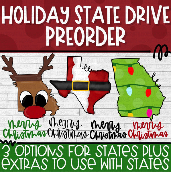 Holiday State Drive Access with 3 state options and hand lettered extras