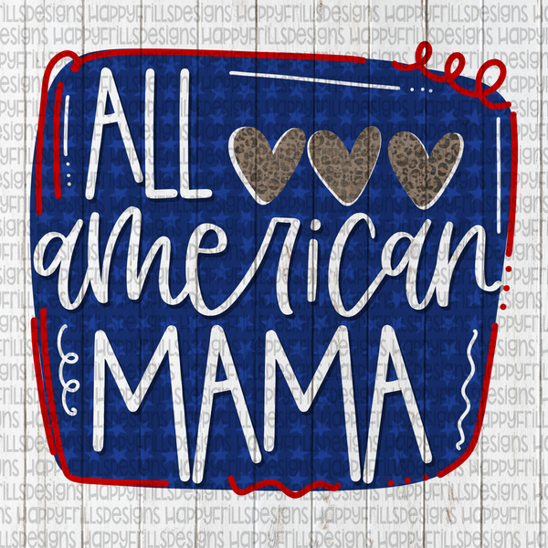 All American Mama red white and blue with leopard