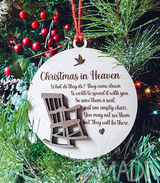 Christmas in Heaven Rocking chair memorial ornament