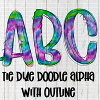 Watercolor Tie Dye Doodle with outline alpha Set