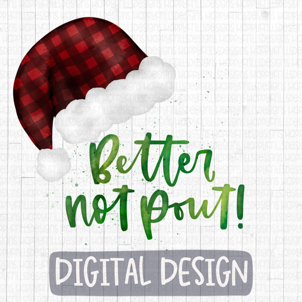 Watercolor Better Not Pout Buffalo Plaid Santa Hat