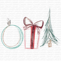 Sketch Christmas tree, ornament, and gift with glitter