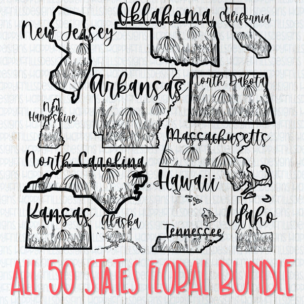 Bundle of all 50 Floral States