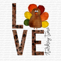 Love turkey time (leopard print letters)