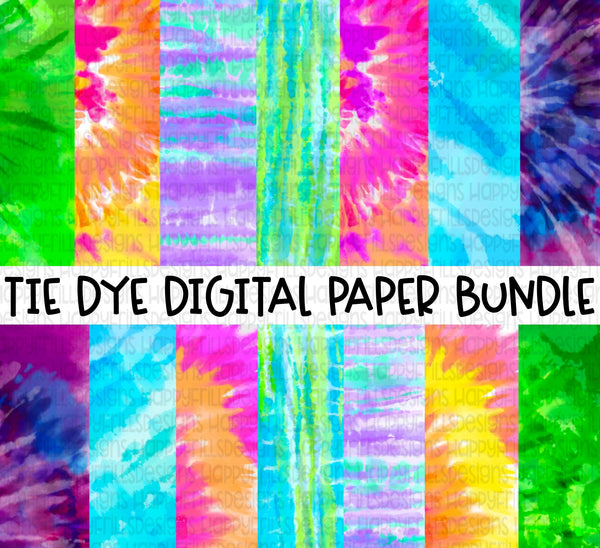 7 Tie dye digital paper bundle