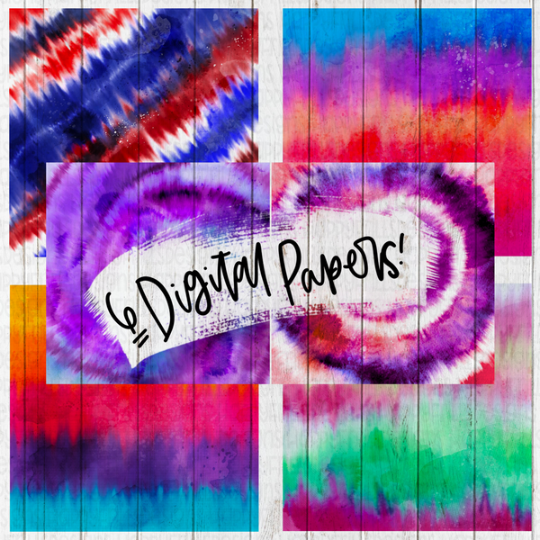 Watercolor Tie Dye digital paper bundle for digital and transfer designs
