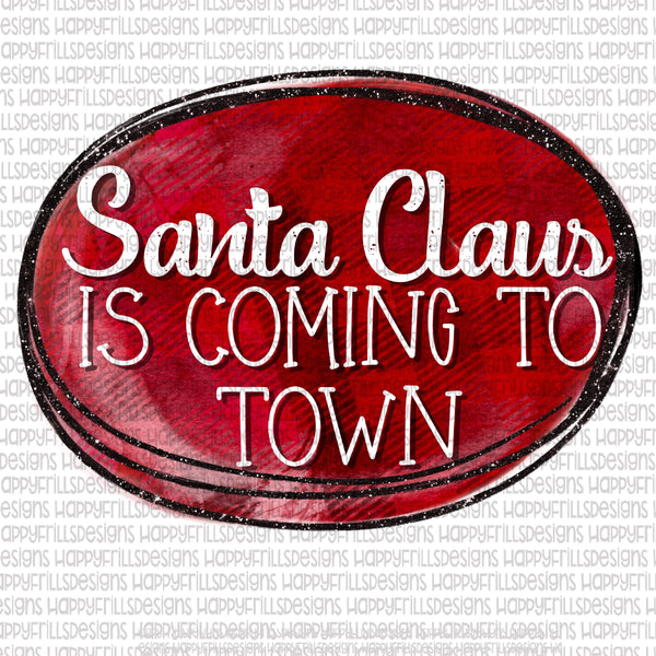 Santa Claus is coming to town plaid with glitter