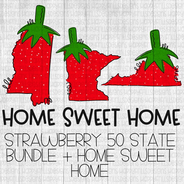 Doodle strawberry state set with bonus home sweet home