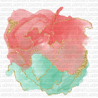 Watercolor teal/pink background with gold