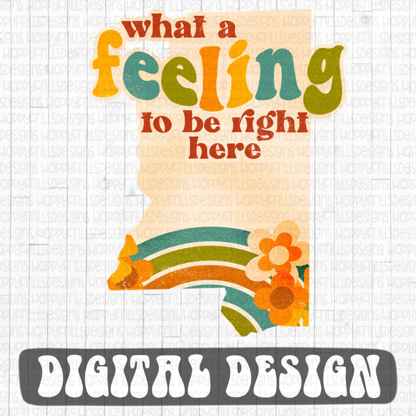 Mississippi- What a feeling to be right here retro style digital design