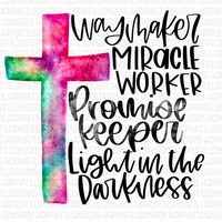 Way maker Miracle worker promise keeper light in the darkness watercolor cross
